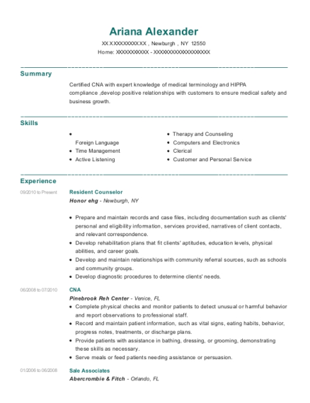 Resident Counselor resume example New York