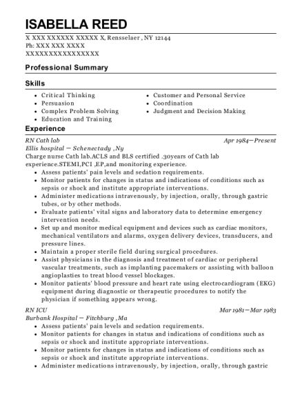 RN Cath lab resume template New York