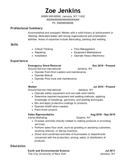 Emergency Snow Removal resume template New York