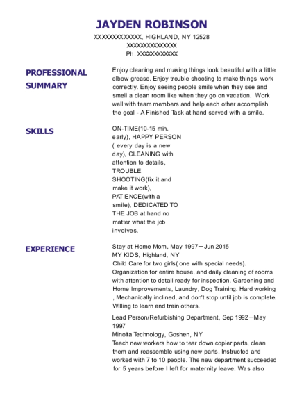 Stay at Home Mom resume example New York