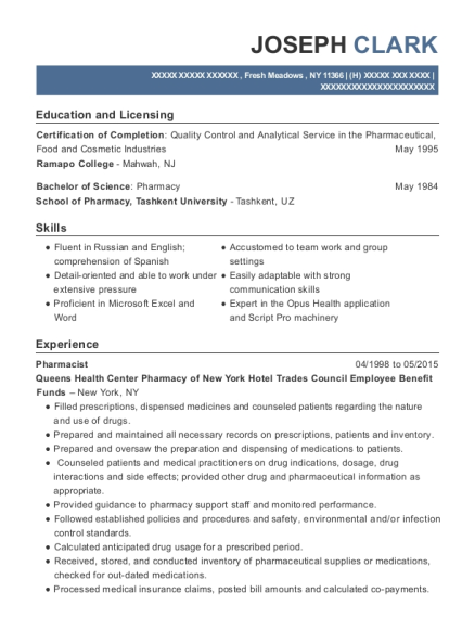 Pharmacist resume template New York