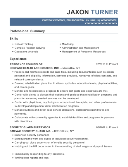 Residence Counselor resume example New York