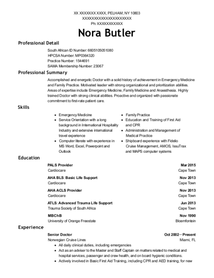 Senior Doctor resume sample New York