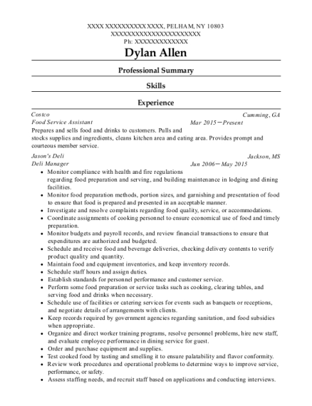 Food Service Assistant resume example New York