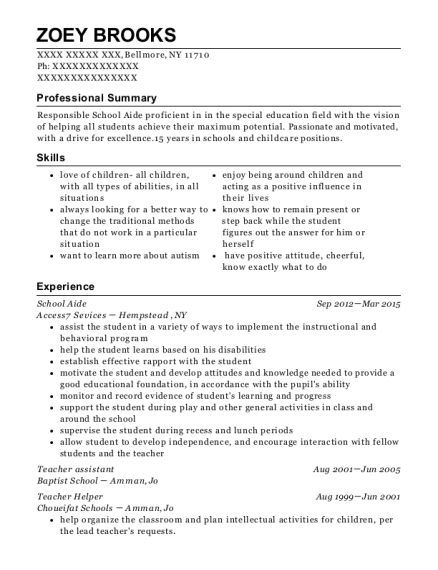 School Aide resume format New York