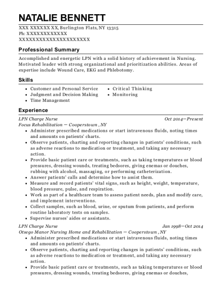LPN Charge Nurse resume format New York