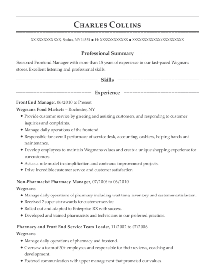 Front End Manager resume template New York