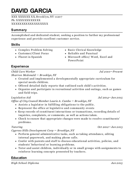 Child Care Worker resume example New York