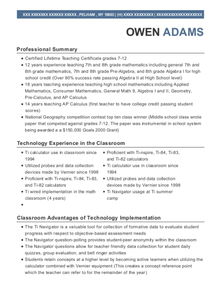 Ti Traveling Camp Instructor resume example New York