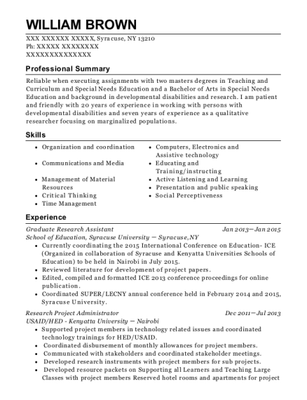 Graduate Research Assistant resume format New York