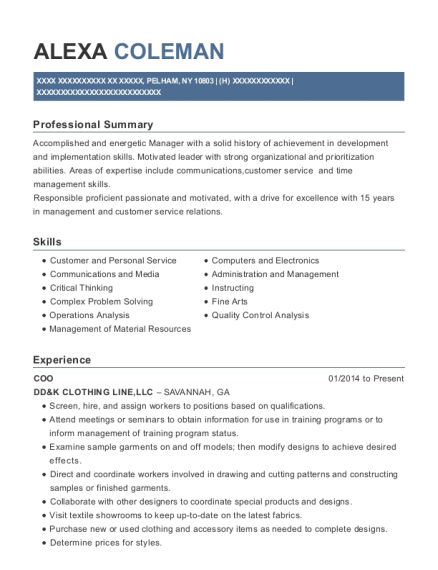 COO resume template New York