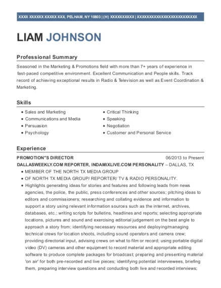 PROMOTIONS DIRECTOR resume format New York