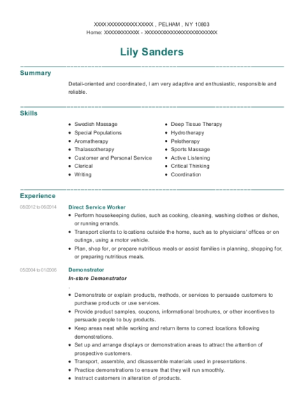 Direct Service Worker resume example New York