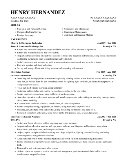Electric & Electronic Technician resume template New York