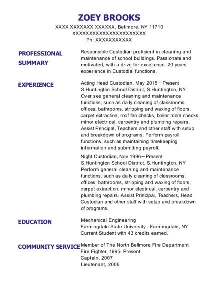 Acting Head Custodian resume example New York