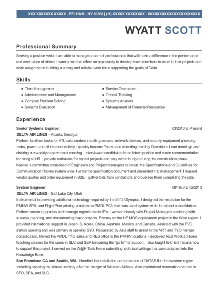 Senior Systems Engineer resume sample New York