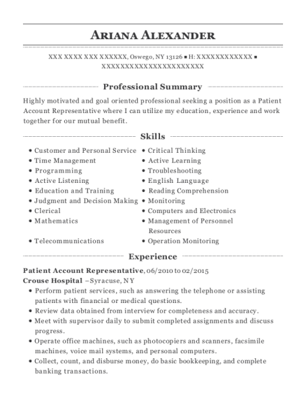 Patient Account Representative resume template New York