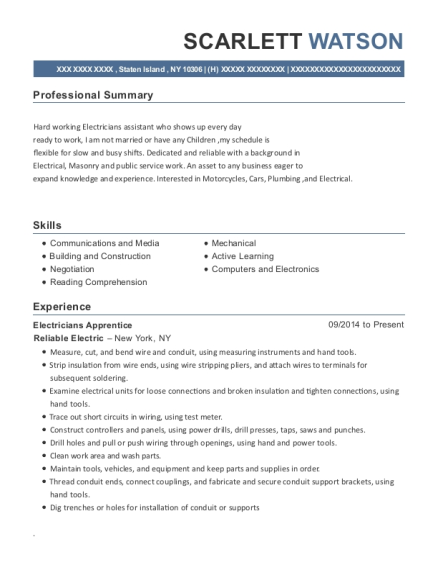 Electricians Apprentice resume format New York