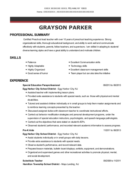Special Education Paraprofessional resume format New York