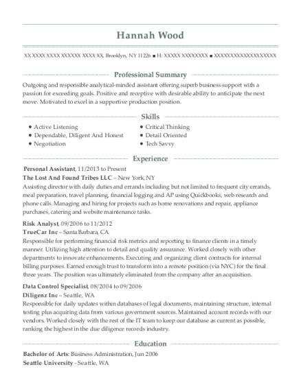 Personal Assistant resume sample New York