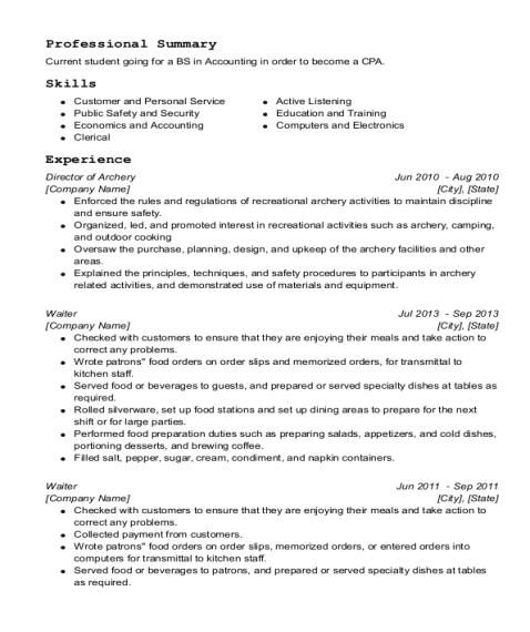 Director of Archery resume sample New York