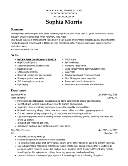 West Con Inc Pipe Fitter Foreman Resume Sample