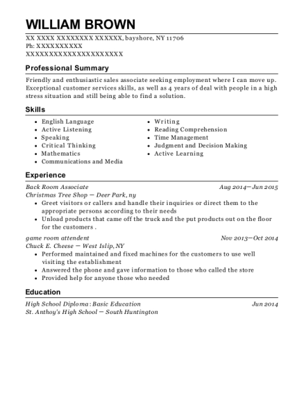 Back Room Associate resume sample New York