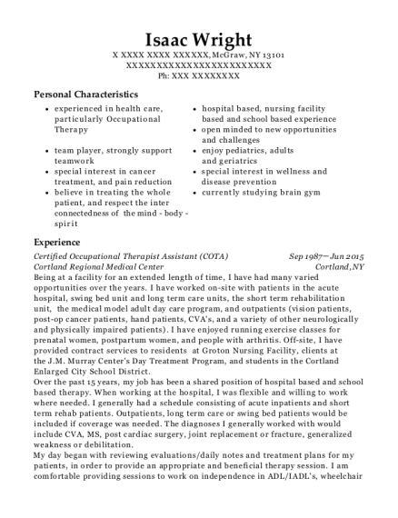 Certified Occupational Therapist Assistant resume example New York