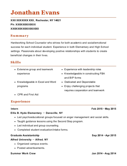 Intern resume example New York