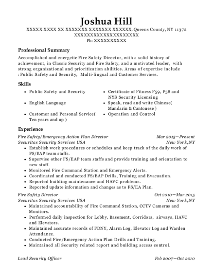 Fire Safety resume format New York