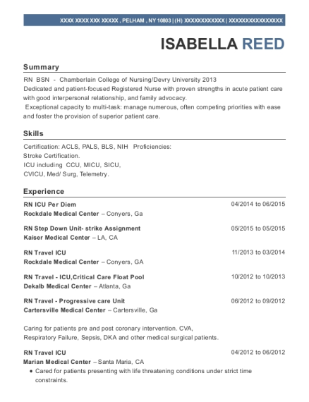 RN ICU Per Diem resume format New York