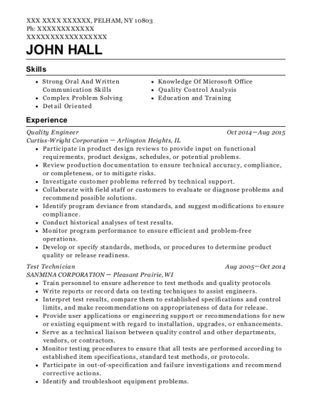 Quality Engineer resume format New York