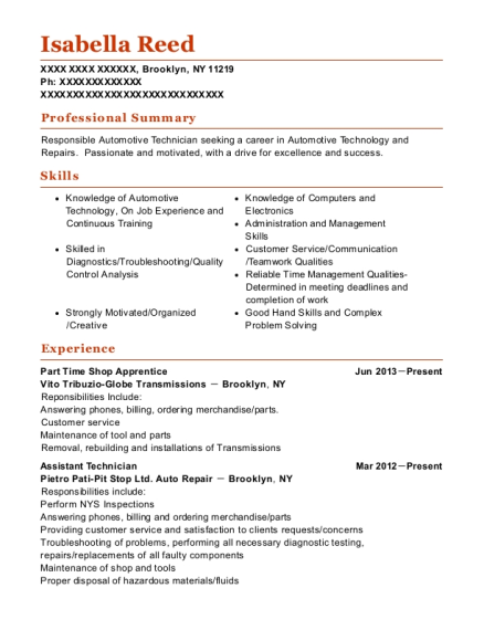 Part Time Shop Apprentice resume format New York