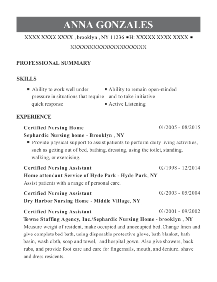 Certified Nursing Home resume sample New York