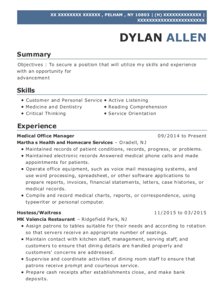 Medical Office Manager resume format New York