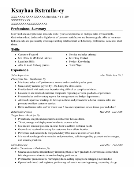 Sales Supervisor resume format New York