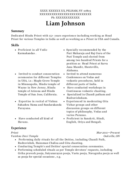 Chinmaya Mission Boston Hindu Priest Resume Sample Resumehelp