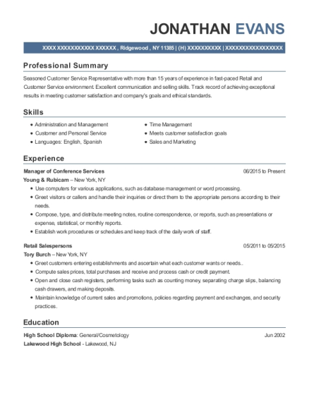 Manager of Conference Services resume sample New York
