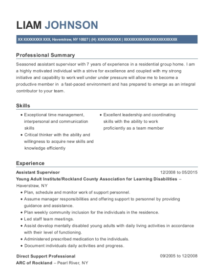 Assistant Supervisor resume example New York