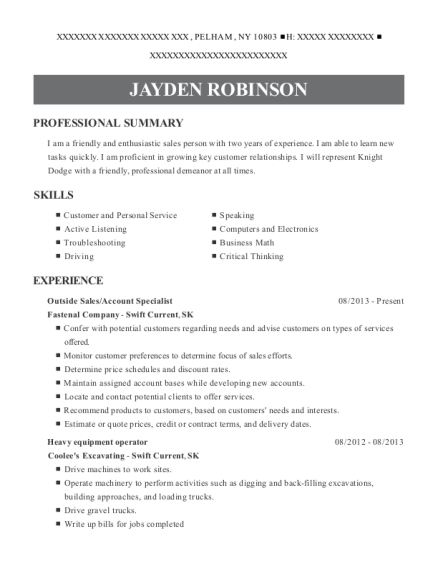 Outside Sales resume example New York