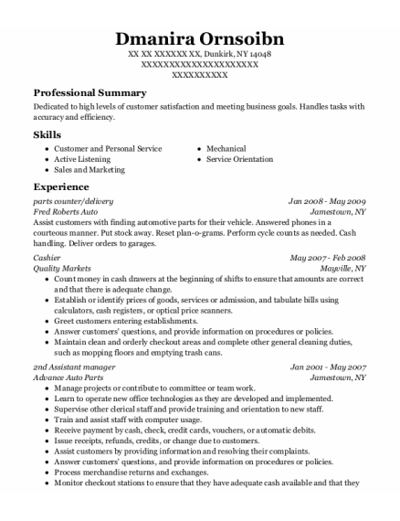 parts counter resume sample New York