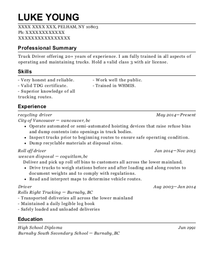 recycling driver resume format New York