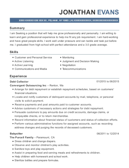 Debt Collector resume template New York