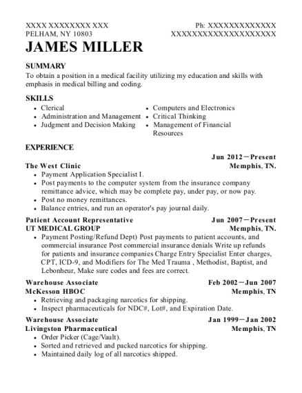 Patient Account Representative resume example New York