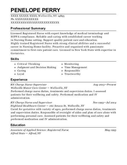 RN Charge Nurse Supervisor resume template New York