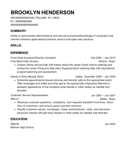 Front Desk Assistant resume template New York