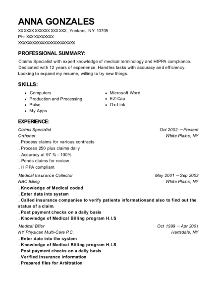Claims Specialist resume format New York