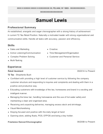 Retail Assistant resume template New York
