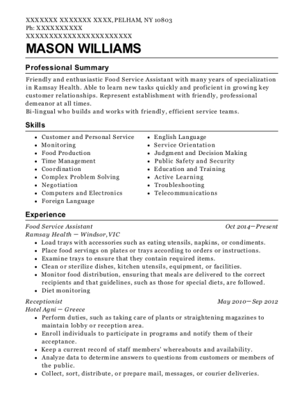 Food Service Assistant resume format New York