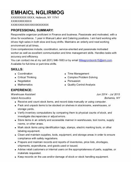 Warehouse Assistant resume template New York